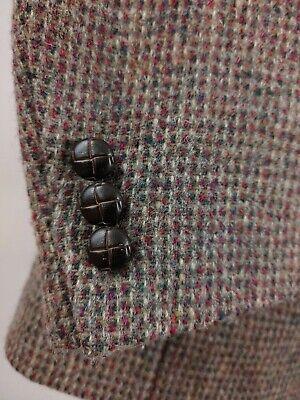 Colorful Harris Tweed Wool Purple Green Blazer Sport Coat 2Button Jacket Men 44R