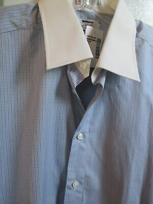 New Ike Behar Dress Shirt 16 32 Blue White  Collar French Cuff Sea Island Cotton