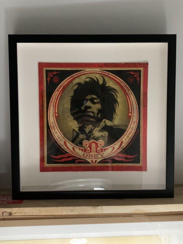 "Shepard Fairey ""Hear My Freedom"" Mixed Media Original Unique 1/1 Signed Hendrix"