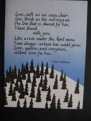 """UNUSED 1977 vintage card Blue Mountain Arts Paul Williams From Song """"Evergreen"""""""