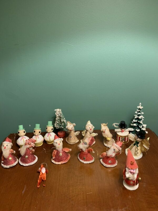 Lot of Vintage Christmas Chenille Made in Japan - Santa, Snow Man, Gnomes