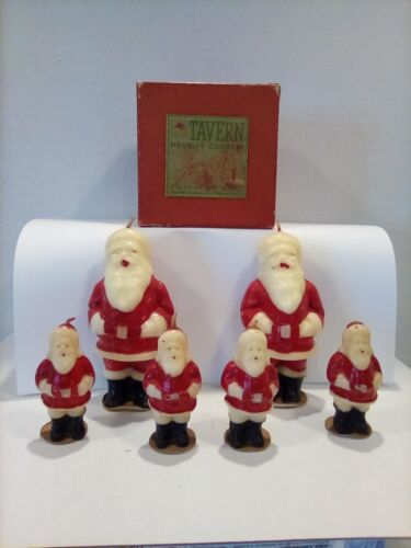 Vintage Christmas Tavern Santa Claus Candles with Box (Lot of 6)