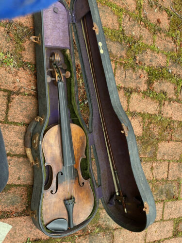 "Antique 23.5"" Violin Stradivarius w/ Case and Bow 29"" Silver Wire signed italian"