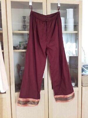 Indische Jeans (NEU: indischer Schnitt rote Sommerhose 3/4tel Damenhose  Gr. 42  Baumwolle)