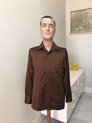 1970s Men's Shirt Styles – Vintage 70s Shirts for Guys Original Vintage Men's 70s Shirt Top, Chocolate Retro Shirt Hipster ,Gloweave $29.01 AT vintagedancer.com