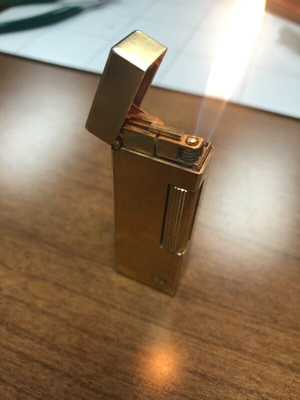 SERVICED & READY TO USE - VINTAGE DUNHILL ROLLAGAS LIGHTER - GOLD PLATED
