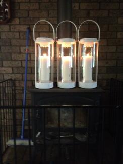 GLASS CANDLE LANTERNS (7) IDEAL FOR WEDDINGS ETC