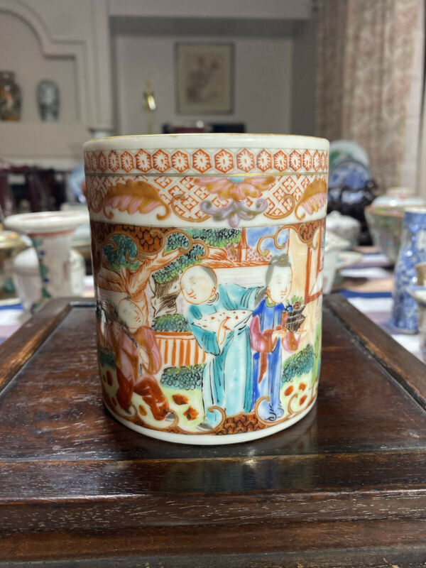 Rare Antique Chinese Famille Rose Mandarin Mug Cup