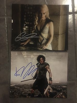 Emilia Clarke Kit Harington Game of Thrones hand signed 2 photos