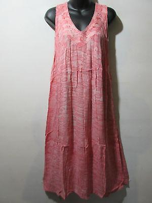 Dress Fit 1X 2X 3X Plus Sundress Pink Water Color A Shape Cotton V Neck NWT - Water Color Dress