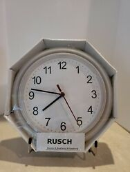 IKEA Wall Clock RUSCH Battery Operated White Sweden New in Box