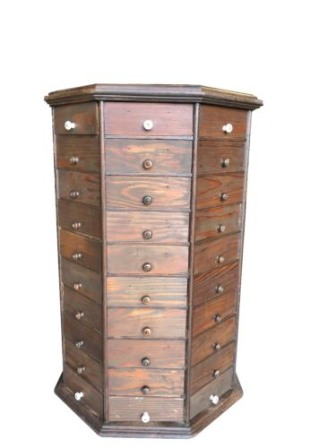 c1900 AMERICAN BOLT & SCREW Antique Octagonal 80 drawer Hardware Store Cabinet