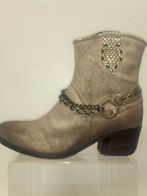 New Stone/Gold Distressed leather Cowboy Boots made in Italy by Khrio , size 39