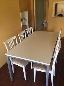 White DINING TABLE + 6 matching CHAIRS Enfield Burwood Area Preview