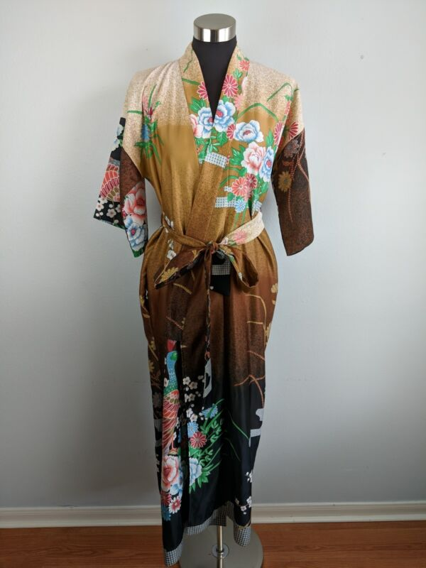 Vintage Astor One Womens Kimono Robe L Large Floral Peacock Pocket Made in Japan