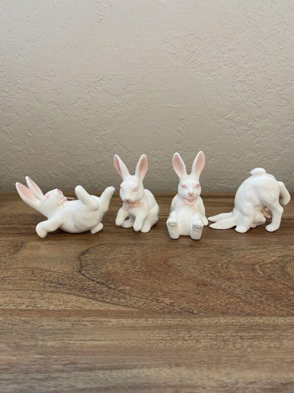 Tumbling Bunny Rabbits Bunnies Figurines Set of 4 Bone China for Easter Taiwan