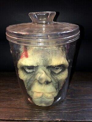 Creepy Foam Head In a Jar Scary Wierd Spooky Halloween  Haunted House Decor