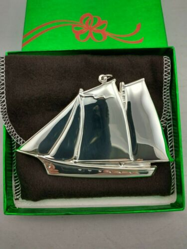 1984 Gorham Schooner Sterling Silver Christmas Ornament RARE! New w/box and bag