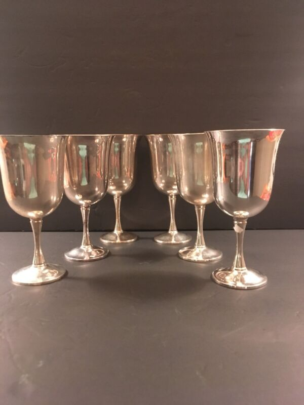 Vintage JOLEM SALEM PORTUGAL Silver plate Goblets 12 Oz Set of 6