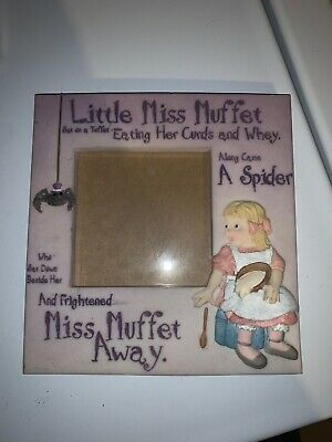 "Little Miss Muffet Picture Frame Quote 4x4"" Ceramic Pink"