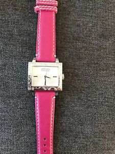 Leather coach watch (pink)