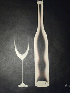 Black-White-Minimal-Wine-Large-Oil-Painting-Canvas-Original-Contemporary-Modern
