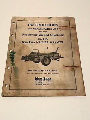 1953 New Idea 14a Manure Spreader Manual Parts List S-172 Avco Farmall Tractor