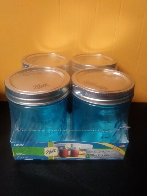 BALL Wide Mouth Elite Collection Mason Blue Pint Jars Pack of 4