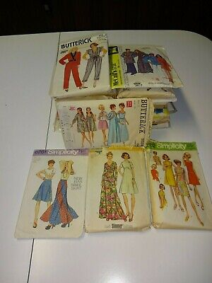 Vintage Ladies Clothing Sewing Pattern Lot Mixed Styles & Sizes 60's 70's 80's