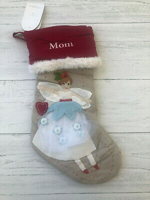 "NWT Pottery Barn Kids Christmas Stocking Woodland Fairy ""Mom"""