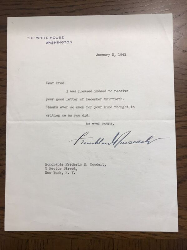 Franklin D. Roosevelt 1941 Typed Letter Signed as President - White House - FDR