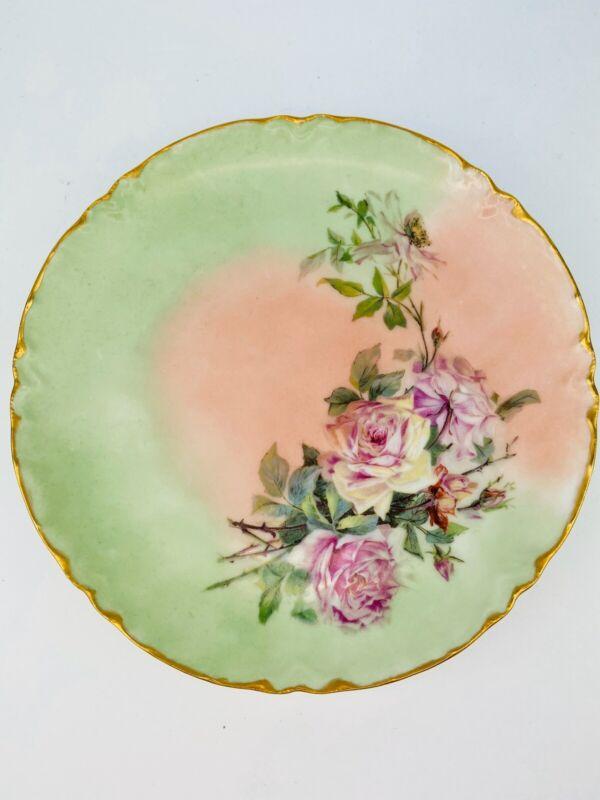 Vintage Haviland France Floral Gold Rim Decorative Plate