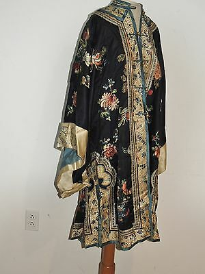Antique Hand Embroidered Silk Chinese Robe w Peking Forbidden Stitch