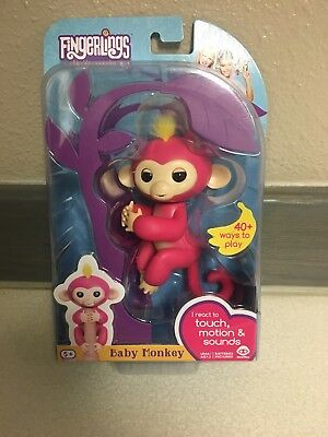 Authentic Fingerlings Interactive Baby Monkey Bella Pink Yellow Hair  New