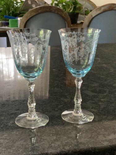 Fostoria Navarre Crystal Etched Water Goblets - Set of 2