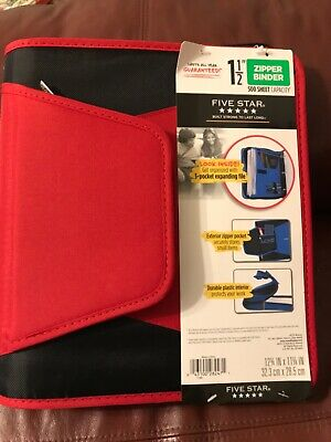 New Five Star 1-12 Inch Zipper Binder 3 Ring Binder 3-pocket Expanding File