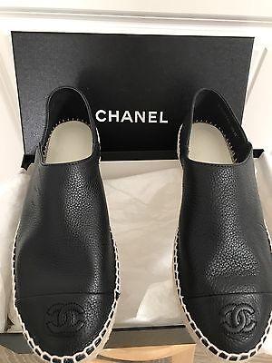New 2017 CHANEL Black Pebble Leather Espadrilles CC Flat Shoes Sz 37 Gorgeous!