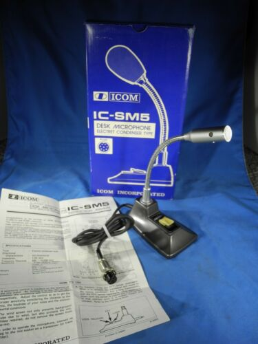 ICOM IC-SM5 DESK MICROPHONE W/ BOX & Instructions! (VERY NICE!)
