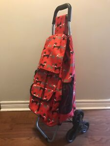 Personal shopping cart with bag, stair climber wheels