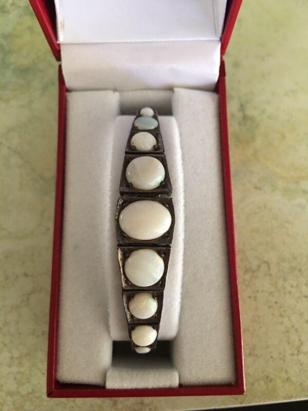 Antique Art Deco Sterling Silver Milk Opal Panel Bracelet Box Is Display Only