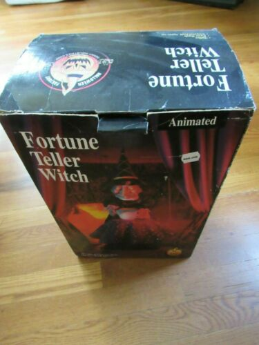 Vintage GEMMY FORTUNE TELLER WITCH Animated CRYSTAL BALL Halloween