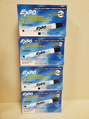 4 Boxes Expo 83001 Original Dry Erase Markers Chisel Tip Black12-count New