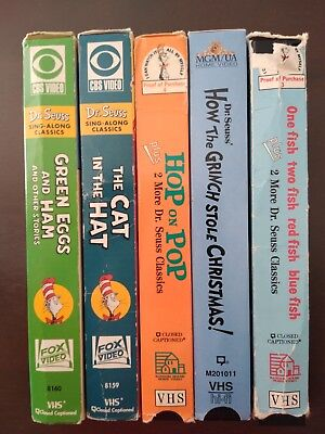 Dr. Seuss VHS Lot Of 5  Green Eggs, Grinch, One Fish Two Fish, Cat in the