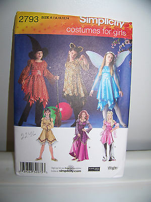 Simplicity Costume Pattern # 2793 Halloween Witch Cat Fairy Princess 7 - 14 - Cat Halloween Costume Pattern