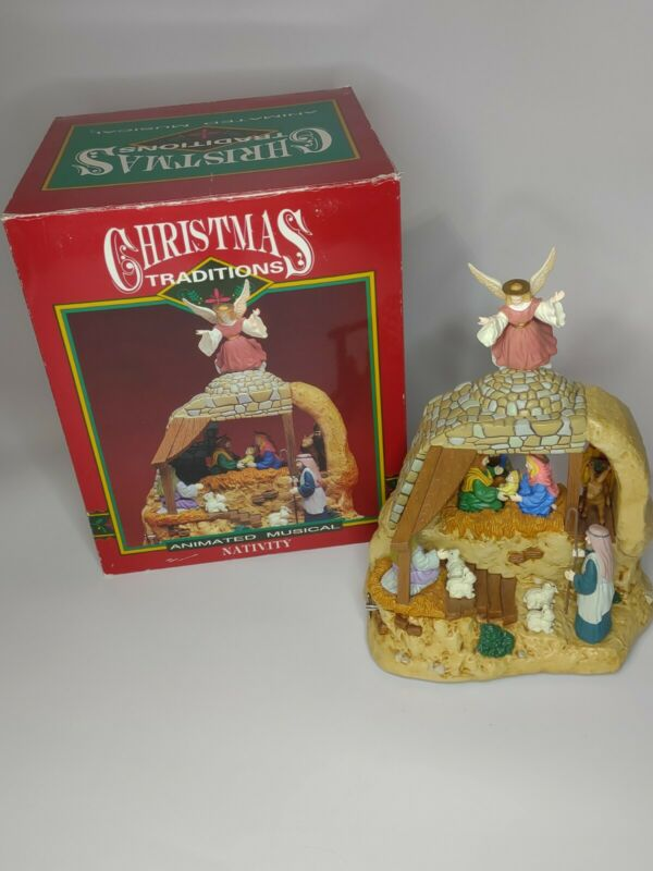 Christmas Traditions Nativity Animated Musical Wind Up Working Moving Pieces