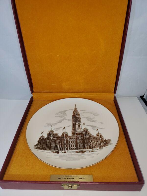 Philadelphia City Hall Collectible Plate Presented by Mayor Frank Rizzo IOB HTF