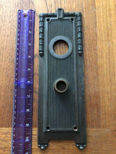 Yale Numbered Vintage Art Deco Look Doorknob Plate Brass 10 3/4 by 3 1/2 Heavy!