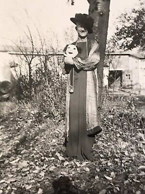 Man With Mask Halloween 1943 Costume Photo Old Vintage Black White Pic
