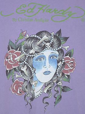 Ed Hardy Lady Short - Ed Hardy Lavender Short Sleeve Geisha Girl T-Shirt Top Ladies XS