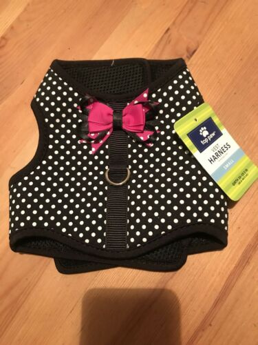 NEW TOP PAW HARNESS BLACK /WHITE POLKA DOTS PINK BOW, Small - $12.99
